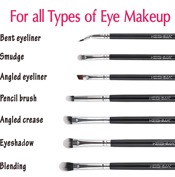 Simple eye makeup brushes