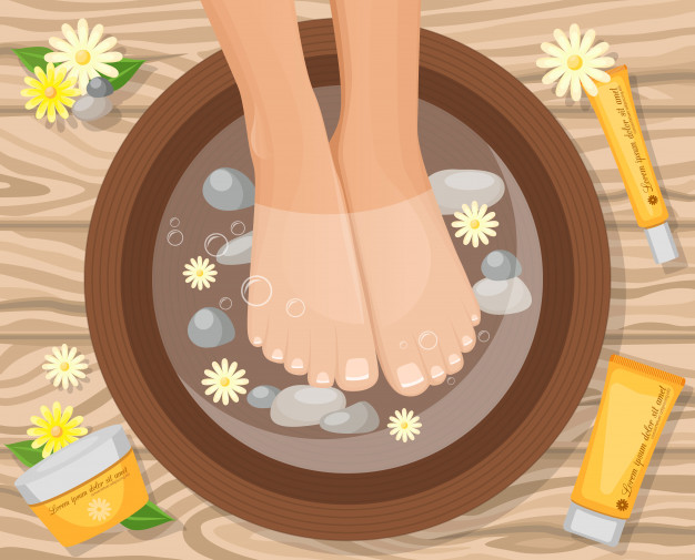 foot care tip- to soak in lukewarm water