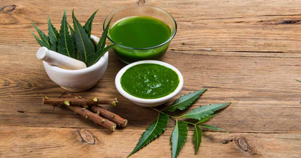 mixture of neem on the skin